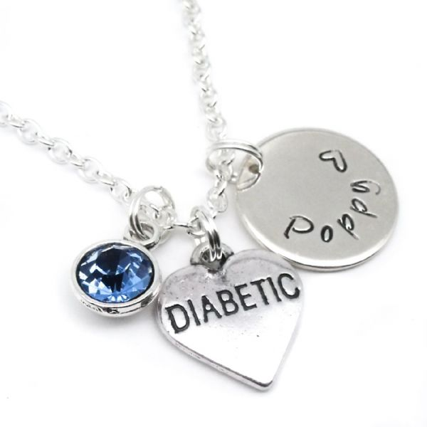Diabetic Name Pendant Name Necklace Personalised Birthstone Jewellery Gift